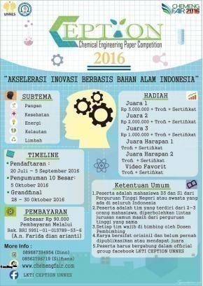 LKTI Chemical Engineering Paper Competition 2016 Teknik Kimia Universitas Negeri Semarang